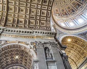 St. Peter's Basilica Ceiling Print, photography, basilica print, basilica ceiling print