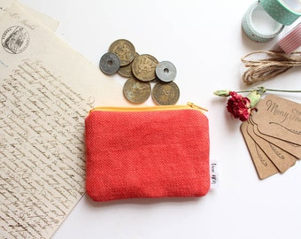 Mini Pouch, Coin Purse, Colourful Pouch, Zipper Pouch, Cotton Pouch - Red/Orange