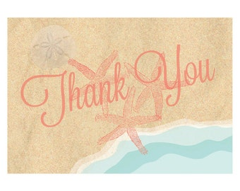 Beach Theme Thank You Cards