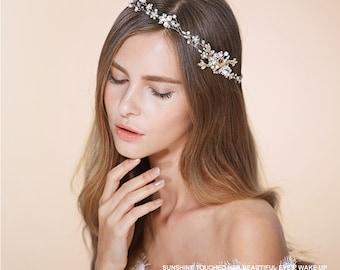 Bridal headband, Wedding hair accessories, Wedding tiara, Crystal headband, Bridal hair vine, Golden hair vine, Golden headband