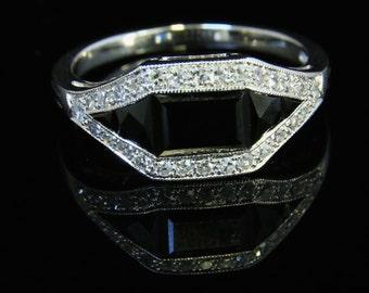 Antique Art Deco Diamond & Onyx Ring 18ct White Gold