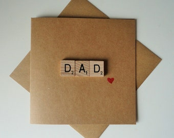 Fathers Day Card - Dad Birthday Card - Scrabble Card - Dad from daughter- Dad Card - Birthday Card - Fathers Day - Dad from Son - Card Dad