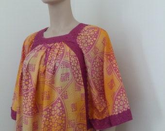 womens soft cotton mix summer dress/kaftan- fushia /orange  mix