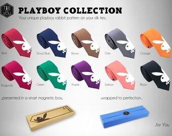 Playboy Rabbit Tie - Silk Tie - Slim Tie Wedding Tie, Christmas Gift, Fathers Day Gift, Birthday Gift,  - FREE UK Shipping!