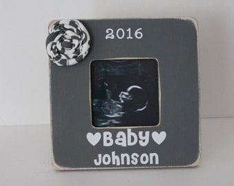 Gender Reveal Picture Frame, Pregnancy Announcement, Ultrasound Frame, Grey Picture Frame