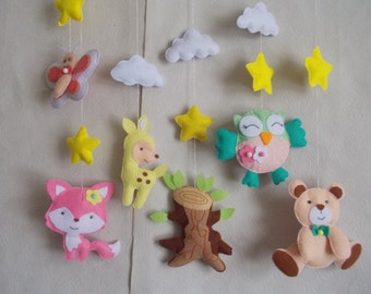 Baby crib mobile-Forest mobile-bear mobile-fox mobile-zoo mobile-nursery mobile-baby kit mobile-