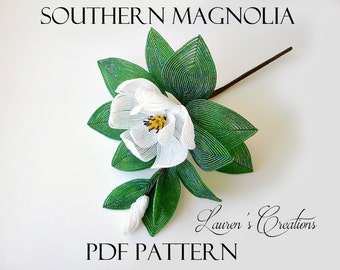 PDF Pattern - French Beaded Southern Magnolia, Lauren's Creations, seed bead wire wrapping crafts, DIY beading projects, home decor