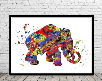 Mammoth, Mammoth from Ice Age, Prehistorical animals, Age of Ice, Watercolor Print,  Art Print, Wall Decor  (2170b)