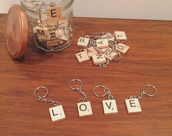 Scrabble tile keychain