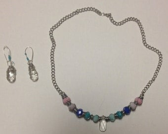 Teardrop Crystal with Shades of Blue and Pink Necklace and Earring Set