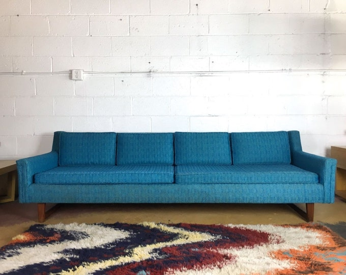 SOLD Mid Century Modern Blue Turquoise Sofa Dunbar HARVEY PROBBER Style Mint