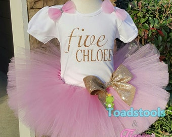 Pink & Gold Birthday Tutu Outfit