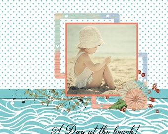 A day at the beach.... Quick Page 12 x 12 instant download