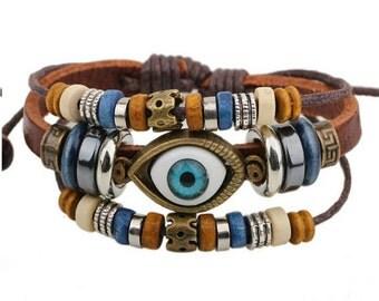 Handmade Leather Turkish Eeye Adjustable Bracelet Tibetan Silver Hemp Men Women Wristband