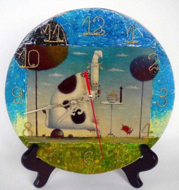 Items Similar To Wall Clock Breakfast Hand Painted Clock