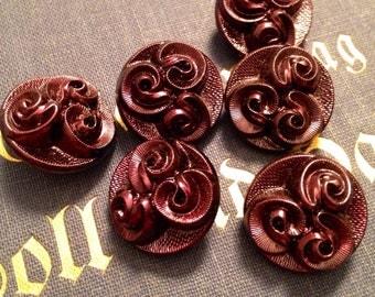 6 beautiful old collector / glass buttons - buttons Art Nouveau - purple iridescent buttons