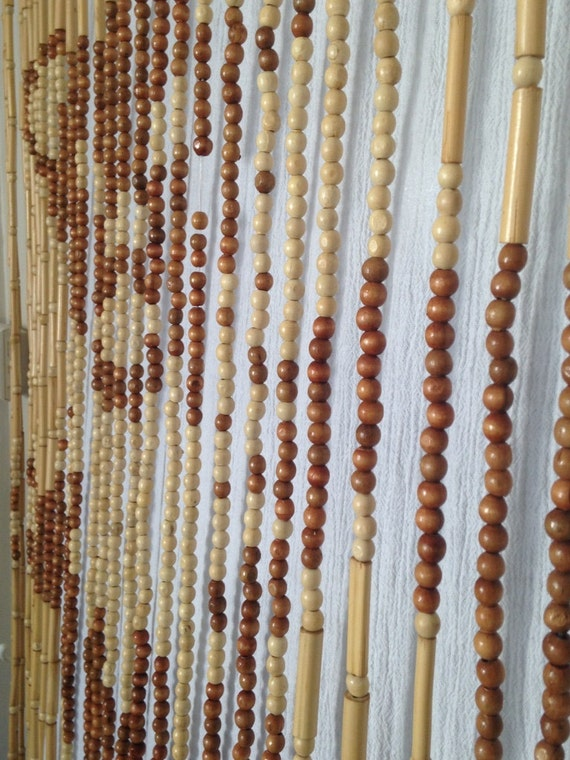 Vintage Beaded Curtain Wood Beads Door Curtain Hippie