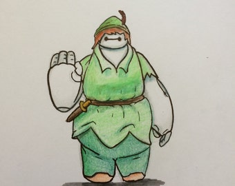 Baymax, Peter Pan cosplay A4 Print
