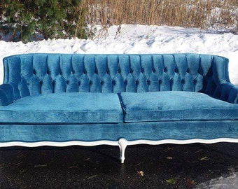 Vintage French Provincial Couch Blue Velvet - Stunning Living Room Sofa ***Sold - Can custom make one for you! Professional Upholsterers!