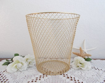 Gold Waste Trash Basket Mesh Wire Desk Organizer Hollywood Regency Paris French Romantic Shabby Chic Cottage Office Home Decor Wedding