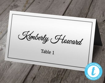 Printable Wedding Placecard Template   Script Font w/ Thin Border   Instant DOWNLOAD   Edit in Your Browser   Folding Tent Style Place Cards