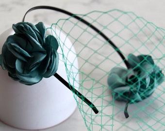 Turquoise Green Birdcage Veil Headpiece / Fascinator - Black Headband