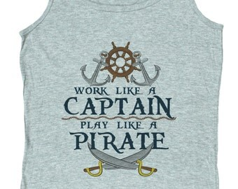 Ladies Work Like a Captain Play Like a Pirate Loose Fit Tank Top