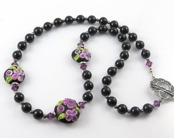 Black and Purple Flower Necklace, Raised Flower Lampwork Necklace