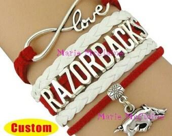 Arkansas razorback bracelet