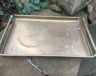 Large Rectangle Brass Tray - Heavy