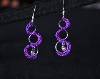 Crocheted ring earrings
