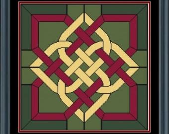 Celtic Square (Green) Cross Stitch