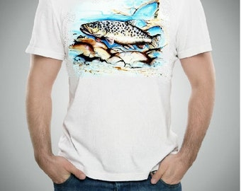 Gift for fisherman, Airbrushed Fish t shirt, Fishing shirt, sportsman shirt, gift for him, fish pillowcase, man cave pillowcase
