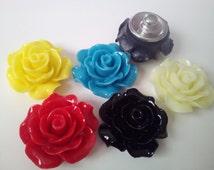 12 mm Petite Resin Rose Flower Snap Button for Women Children Jewelry Necklace Bracelet Ring Earrings Key Bag Zipper Cellphone Decor