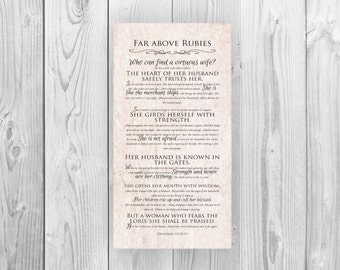 Proverbs 31 Scripture Print on Canvas ; Religious gift ; Gift for mom; faith inspired word art; wife gift; anniversary gift f or wife
