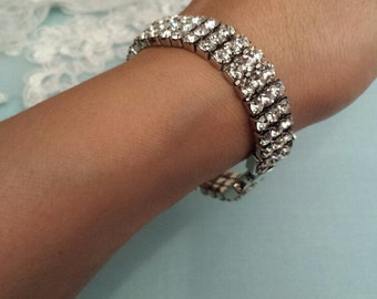 Rhinestone Bracelet w/Clasp & Hook, Bridal Jewelry, Bridesmaid Jewelry