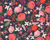 Posy Garden Main Navy by Riley Blake Designs - Blue Pink Flowers Floral - 100% Cotton Woven Quilt Fabric - by the yard fat quarter half