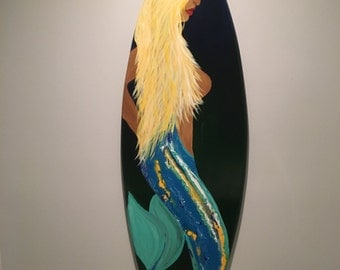 Mermaid, decorative surfboard, surfboards, surf boards, surf art, surf decor, mermaid decor