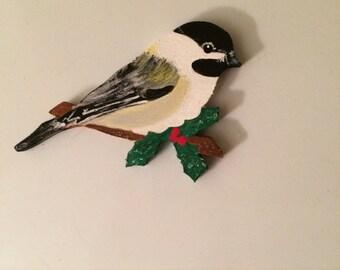 Chickadee Ornament - Wooden Chickadee - Wooden Bird Ornament