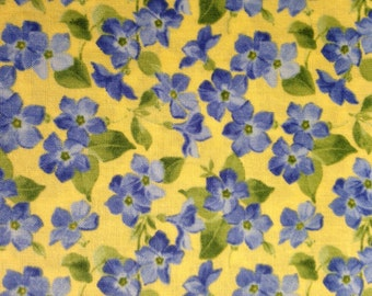 Blue Flowers on Yellow Background, Summer Breeze III by Sentimental Studios for Moda, 100% Cotton