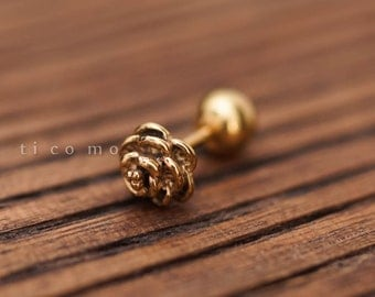 Cartilage earring 16g Tragus earring Helix earring Helix piercing Cartilage Tragus stud Cartilage piercing Conch piercing Gold Rose #1E11