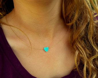 Heart Opal Necklace / Charm Necklace / Gold, Sterling Silver Chain / Tiny One 10mm Opal / Gift For Her / Opal Jewelry