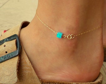 Opal Anklet / Box Opal anklet / Gold Bracelet / Foot Jewelry/ Bridesmaid gift/ Charm Anklet/ Dainty Anklet / Gift F
