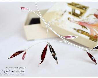 "Handmade necklace ""Morello"", Swarovski crystal necklace, silver plated necklace, cooper wire necklace, crystal resin necklace"