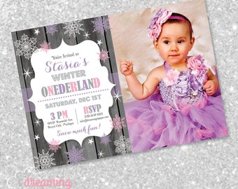 Winter Onederland Birthday Invitation for a Girl!