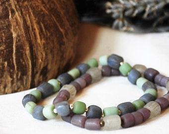 Recycled glass stretch bracelet; Java glass bead bracelet; Recycled glass stretch bracelet; Stack-able boho bracelet; Natural materials