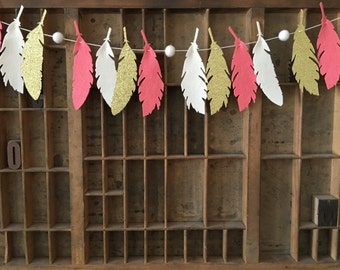 Sahara Summer Feather Garland - Coral White Gold - Feather Garland - Felt Garland - Nursery Decor- Boho Decor- Girl Nursery Decor- Aztec