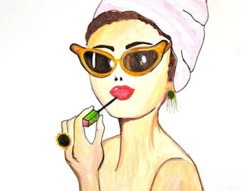 Audrey Hepburn, Primping, Lipstick, Watercolor Digital Print 8 X 10
