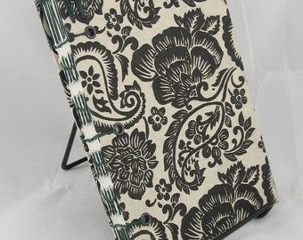 Handmade Coptic Journal Sketchbook with Black and Cream Floral Design and Green Waxed Thread Sewn