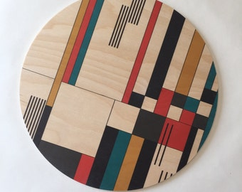 BAUHAUS  geometric tray/ geometric trivet/ wood trivet/ centerpiece/ large coaster/ mid century coasters/ kitchen decor/ tabletop/ hostess